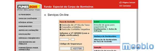 2ª Via FATURA DA TAXA INCÊNDIO FUNESBOM RJ ACESSO VIA INTERNET E TELEFONE